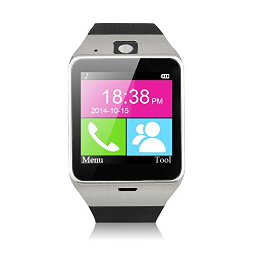 Excelvan NFC Bluetooth Smart Watch Unlocked SIM Phone Watch Sync Call Music Reminder Anti-lost Phone Mate for IOS Android (black)