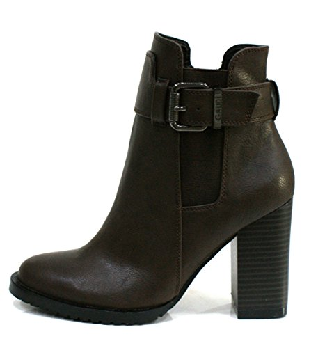 Gaudi Tronchetto Donna Verity Zip Fibbia Tacco Cm 9 Leather Dk Brown_39