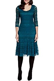Layered Floral Lace Fit & Flare Dress [T62-7110J-S]