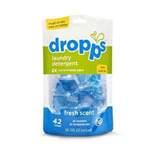 Dropps HE Laundry Detergent Pacs, Fresh Scent, 42 Loads