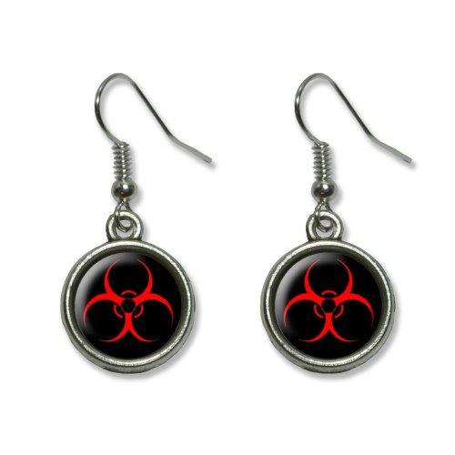 [Biohazard Warning Symbol - Zombie Radioactive Novelty Dangling Dangle Drop Charm Earrings] (Radioactive Zombie Costume)