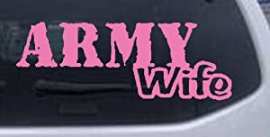 Army Wife Military Car Window Wall Laptop Decal Sticker -- Pink 4in X 11in