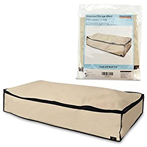Hangerworld Single Zipped Storage Chest with Internal Pocket for Underbed Storage - Cream with Black Trim W 96 x D48 x H18 cm