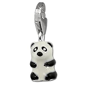 SilberDream Charm Panda Bear 925 Sterling Silver Charms Pendant with Lobster Clasp for Charms Bracelet, Necklace or Charms Carrier FC1019
