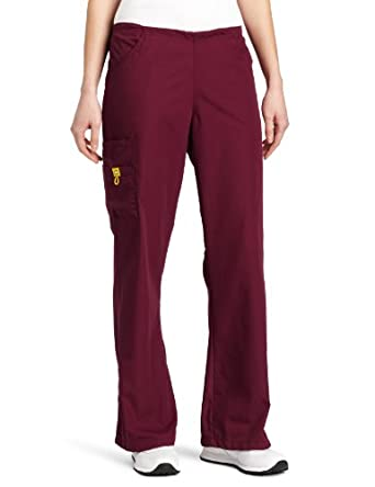 WonderWink Women's Scrubs Romeo 6 Pocket Flare Leg Pant, Wine, XX-Small/Petite