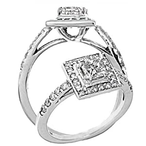 1 Carat S-I Clarity I Color Halo Set Princess Cut Diamond Engagement Ring 14k White Gold by ATR Jewelry