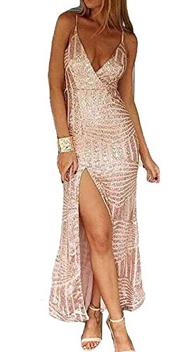 Missord Women's Sleeveless V Neck Sequined Maxi Prom Dress with Side Split Medium Gold