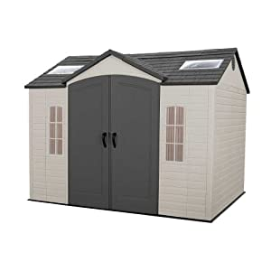 Lifetime 60005 8-by-10-Foot Outdoor Storage Shed with Windows, Skylights, and Shelving