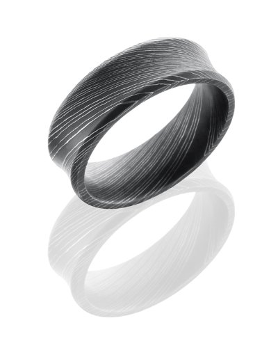 Stainless Steel, Etched Damascus Steel Wedding Band (sz 6.5)