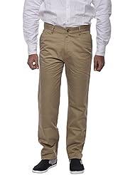 COTTON COLORS Men's Semi-casuals Stripper Khaki Trouser