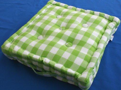 homescapes coussin de chaise quadrill de couleurs vert et blanc fait en 100 coton de 50x50x10. Black Bedroom Furniture Sets. Home Design Ideas