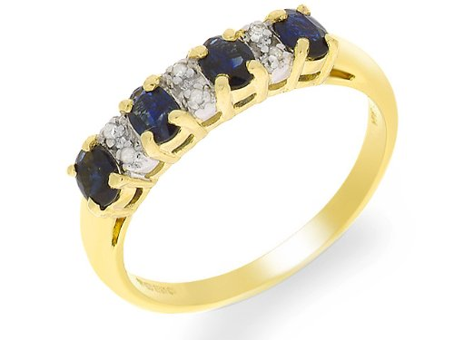 Eternity Ring, 9ct Yellow Gold Diamond and Sapphire Ring, Claw Set