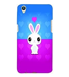 PrintVisa Cute Cartoon Rabbit Cute 3D Hard Polycarbonate Designer Back Case Cover for Oppo F1 Plus