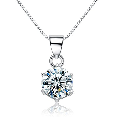 umode-jewellery-christmas-gift-clear-round-shape-cz-diamond-925-sterling-silver-pendant-necklace-for