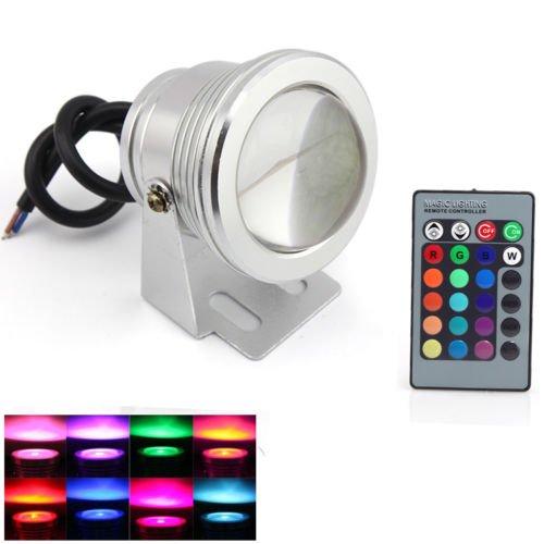 Happu-Store 10W Spotlight Led Lamp Rgb Underwater +Wireless Remote Controller Ir Remote