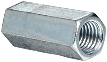 12L14 Steel Coupling Nut, Zinc Plated Finish, Right Hand Threads, Corrosion Resistant, Inch