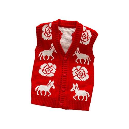 Nanxson (TM) Kind Mädchen Weste V Ausschnitt Pullunder MJET0001 (rot)