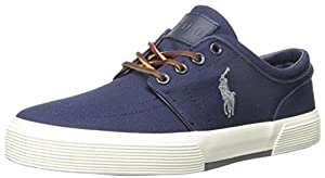 Polo Ralph Lauren Men's Faxon Low Rubber Fashion Sneaker, Newport Navy/Basic Grey, 8 D US