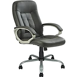 New High Back Executive Leather Ergonomic Office Chair w/Metal Base