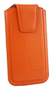 Emartbuy® Sleek Range Orange PU Leather Slide in Pouch Case Cover Sleeve Holder ( Size LM2 ) With Pull Tab Mechanism Suitable For Lenovo Vibe S1 Lite