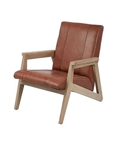 Artistic Angular Mid Century Modern Lounge Chair, Tan/Mid Tone Wood