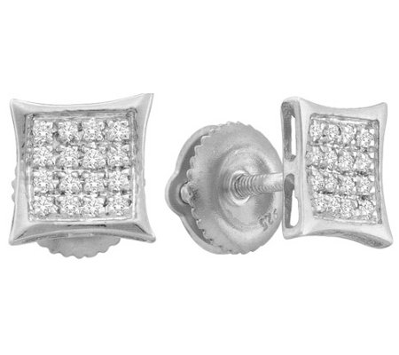 Diamond Earring Studs Kite Shape Sterling Silver (0.10 ct.tw.) Mens Ladies