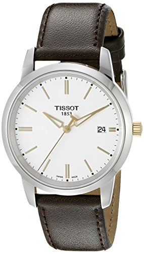 tissot-mens-t0334102601101-t-classic-stainless-steel-watch-with-brown-leather-band