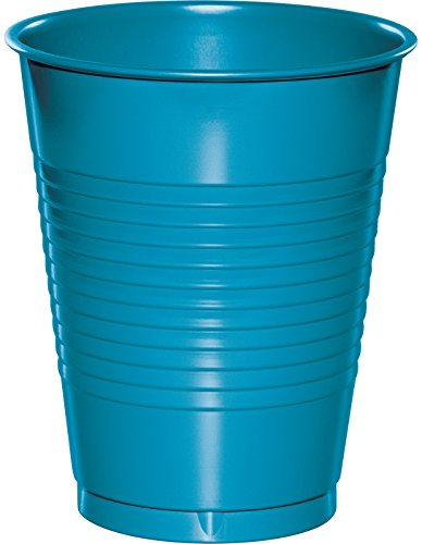 Creative Converting 28313181 20 Count Touch of Color Plastic Cups, 16 oz, Turquoise