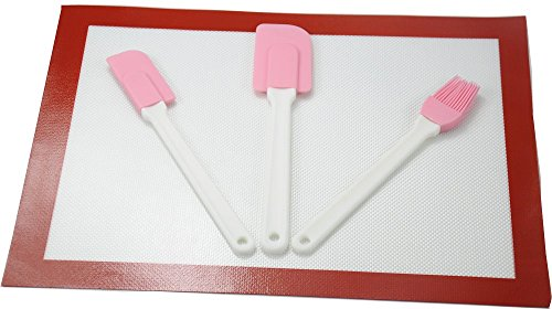 tangchu résistant à la chaleur tapis en silicone de qualité alimentaire/feuille avec spatule de qualité professionnelle et écologique de pinceau à pâtisserie, Silicone, red,pink,white,brown, Taille M