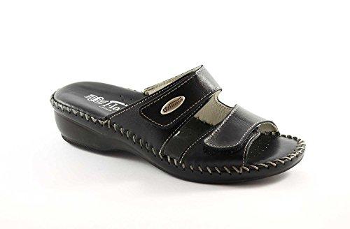 FLORANCE 22590 nero scarpe donna ciabatte pelle strappi comfort