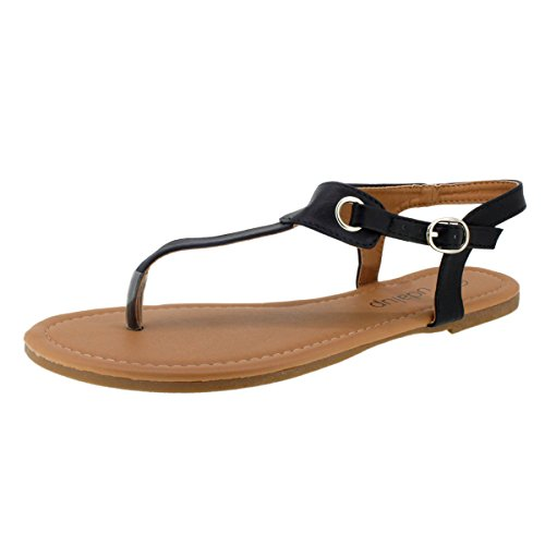 03. Sandalup Women's Claire Thong Flat Sandals with Buckle