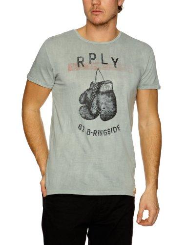 Replay M6062 Printed Men's T-Shirt Grey/Blue Large