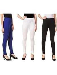 Svadhaa White Black Royal Blue Cotton Lycra Leggings(Pack Of 3)