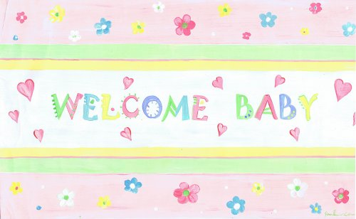 The Kids Room by Stupell Welcome Baby with Pink Floral Border Rectangle Wall Plaque