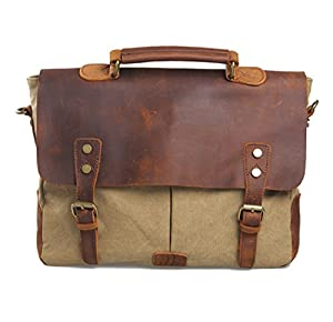 Koson-Man Men/Women's Vintage Canvas Leather Schoolbag Shoulder Crossbody Messenger Bag from Koson-Man