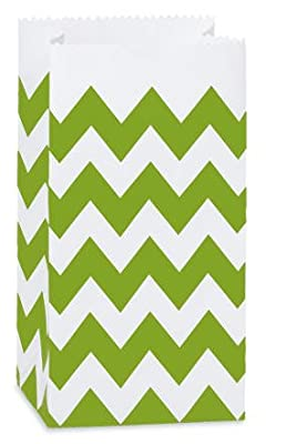 "CakeSupplyShop CK79P- 25/set Apple Green & White Chevron Stripes - All-occasion Paper Favor Gift Bags - 4lb - 5x3-1/8x9-5/8"""