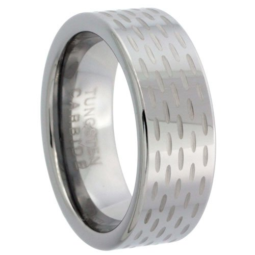 Revoni Tungsten Carbide 8 mm Flat Wedding Band Ring 5-row Diamond-cut Pattern Polished Finish, sizes N to Z+2