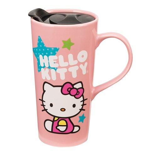 Vandor 18351 Hello Kitty Stars Ceramic Travel Mug, 20-Ounce, Multicolor