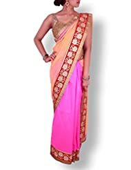 Pink Orange Half And Half Georgette Silk Saree With Rose Patterned Zari Work Border