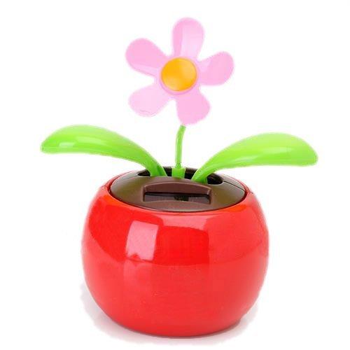 SODIAL(R) La aleta de tiron con energia solar swing maceta de la flor del baile del juguete de la novedad Inicio Ornamento - Rojo