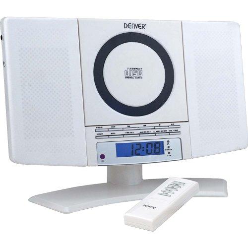 12120550 Musik-Center (vertikaler CD-Player mit LCD-Display, AUX-In, Wandhalterung, Weckerradio) weiß