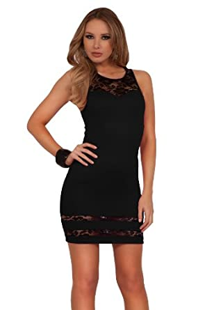Womens Bodycon Cocktail Lace Knitted Sweetheart Illusion Sleeveless Mini Dress