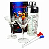 Cocktail Set with Martini Glasses | Including 2x Small 90ml Martini Glasses Cocktail Shaker with Printed Recipes, 2x Stirrers & The Classic Cocktail Collection Book - Martini Glasses Set in Retail Box