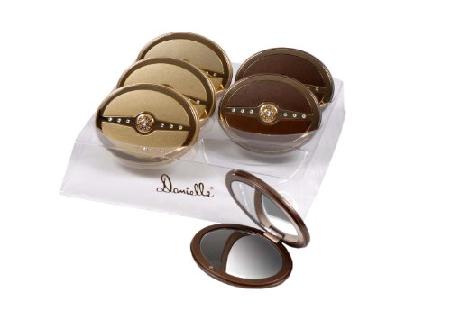 Danielle 5x Magnification Swarovski Crystal Bar Oval Compact Mirror - Champagne Gold or Mocha Gold