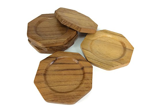 Coasters Wood Octagon Saucers Drink Handmade Teak Wood Holders Dispensers Cup Holder 6 Pieces