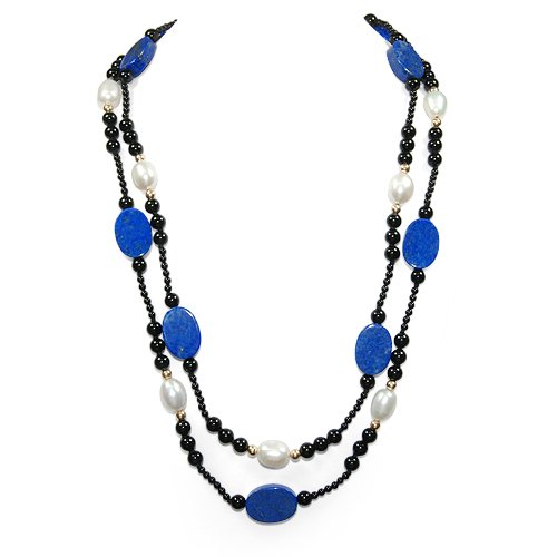 Lapis, Black Onyx and Freshwater Pearl Single Strand with 14k Gold Necklace 32 Inch