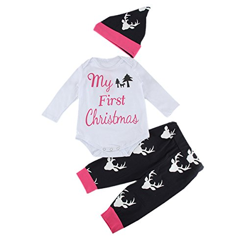 Puseky Newborn Baby My First Christmas Romper Tops+Deer Pants+Hat Outfits Set (6-12 Months)