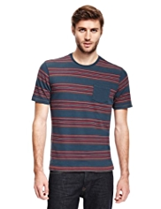 North Coast Pure Cotton Denim Multi-Striped T-Shirt