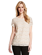 M&S Collection Floral Lace T-Shirt