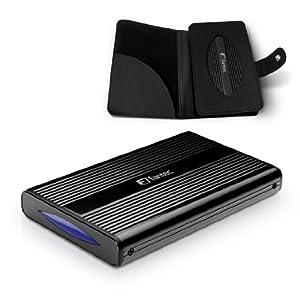 Fantec DB-228U3e Gehäuse für Festplatte (6,4 cm (2,5 Zoll), eSATA, USB 3.0) mit Backup Funktion schwarz
